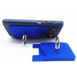Silicone Phone Wallet w/Finger Ring Stand